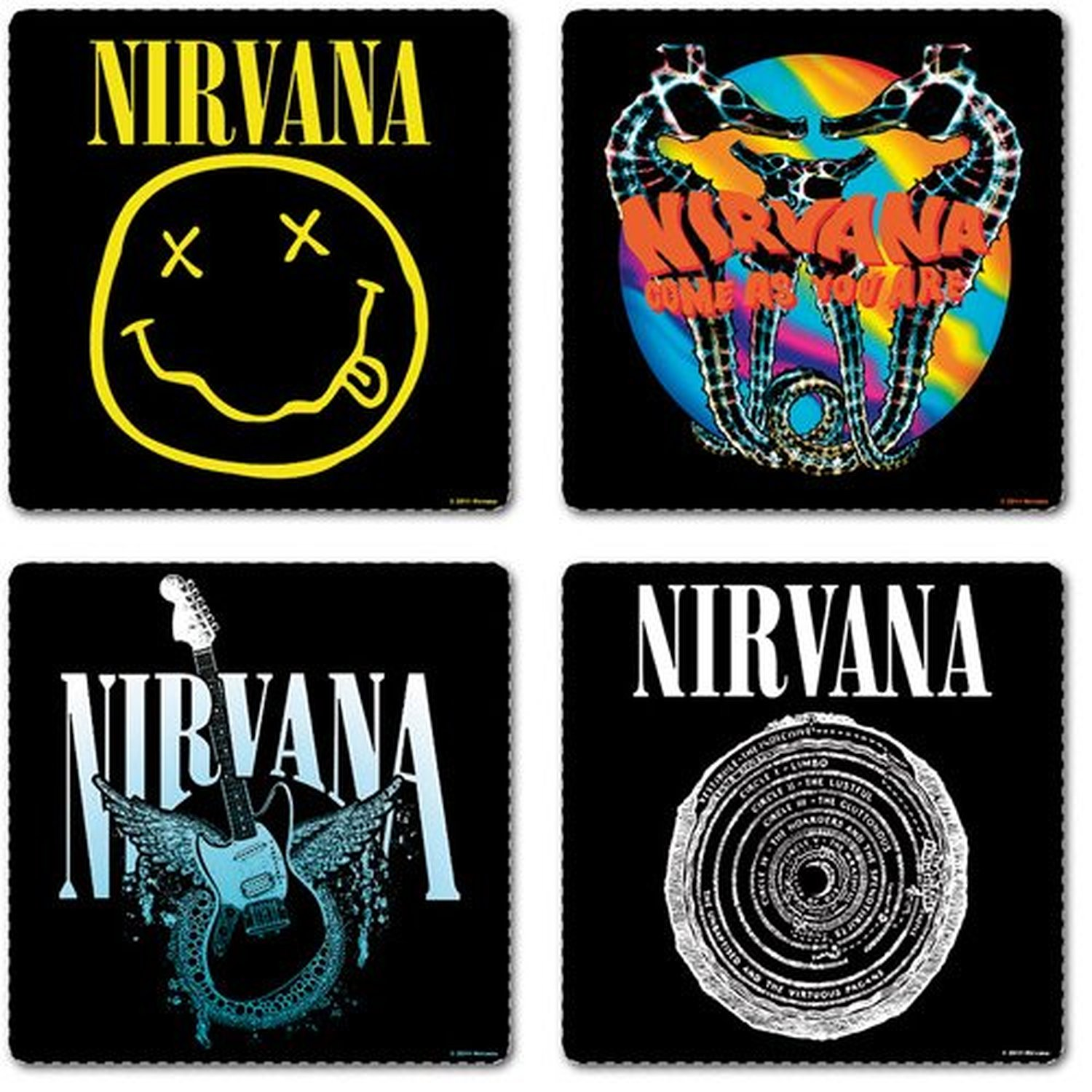 nirvana 4 drinks coaster set 4 album covers logo fan gift