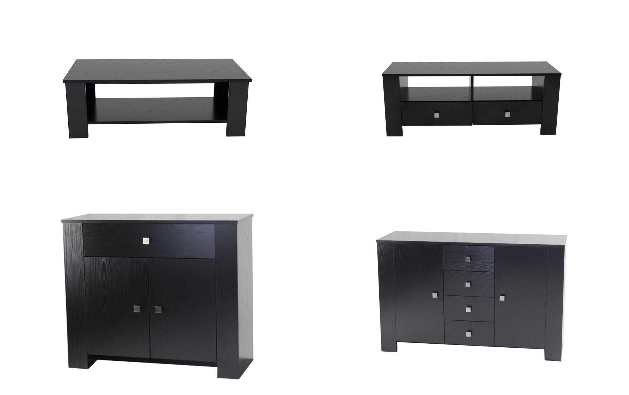 Bourne Black Ash Effect Furniture Coffee Table Sideboard Cupboard