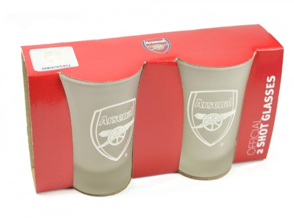 Arsenal Frosted Shot Glasses 2 pack Official Football Merchandise