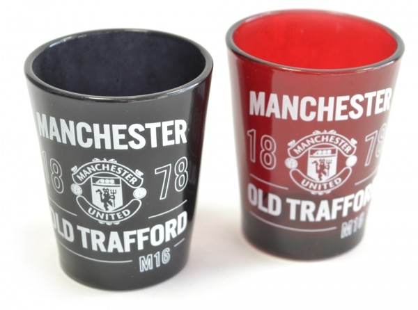Manchester Utd Two Pack Home Team Shot Glasses 40ml Official Product