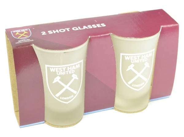 West Ham Frosted Shot Glasses 2 Pack Official Football Merchandise