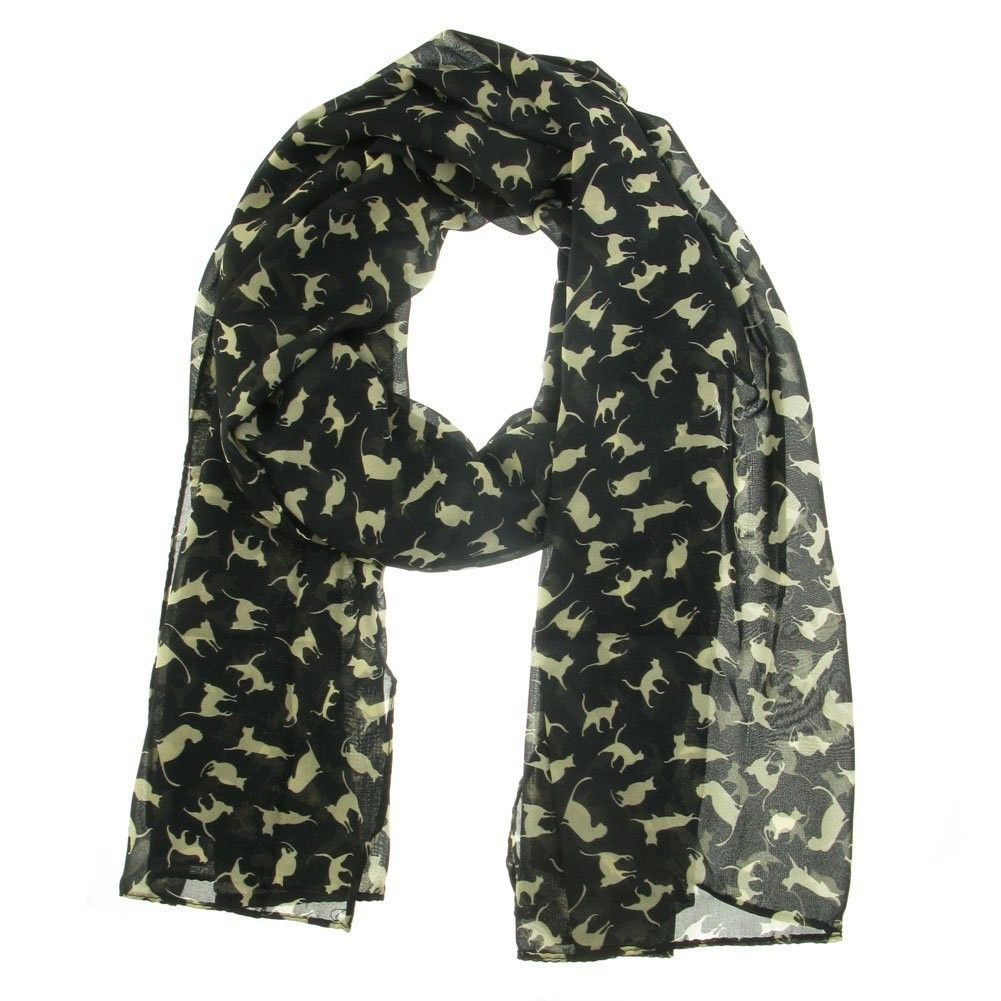 Black With White Cats Print Scarf Scarves Pashmina Shawl Wrap Chiffon Ladies Girls Womens