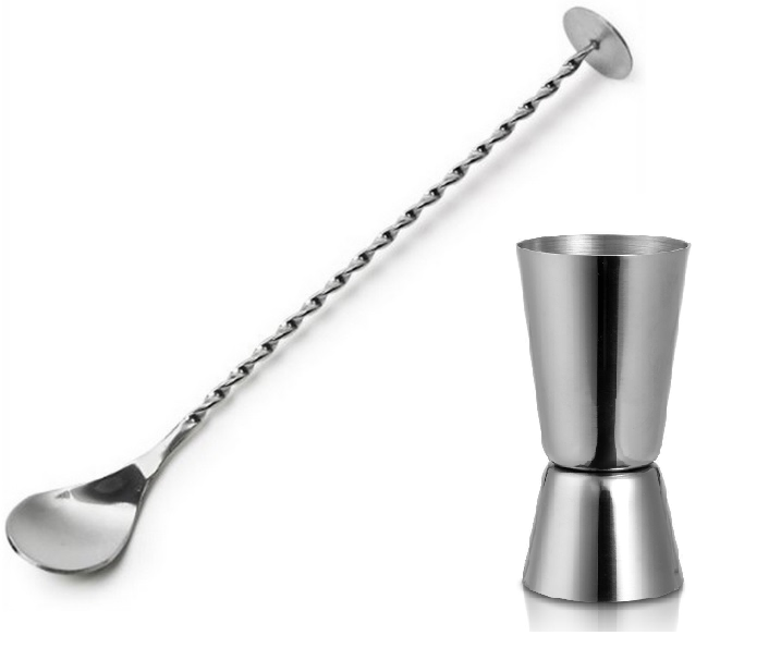 Stainless Steel Stirrer And Double Single Shot Measure Jigger Masher Spoon Mixer