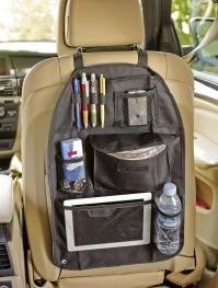 Car Black Back Seat Rear Travel Organiser Storage Tidy Tablet Bottle Holder