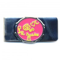The Beatles Pink Love Drum Metal Silver Money Cash Holder Clip Gift Wallet
