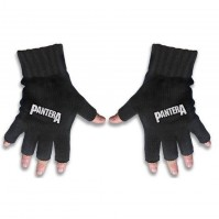 Pantera Black White Fingerless Gloves Rock Band Logo Knitted Cotton Official