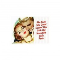 """""""She Knew She Could Control Him..."""" Adult Humour Postcard."""