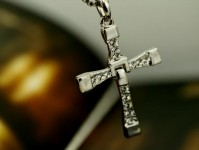 Mens Silver Cross Necklace Chain Pendant Crucifix Fast And The Furious Film