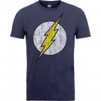 DC Comics Mens Grey Blue T Shirt Originals Flash Logo Distressed