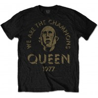 Queen Mens Black T Shirt We Are The Champions Official
