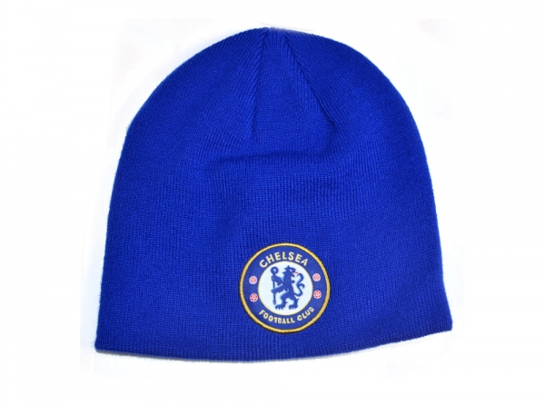 2a2b28128 Details about Chelsea FC Royal Blue Knitted Beanie Winter Hat Football Club  Badge Official
