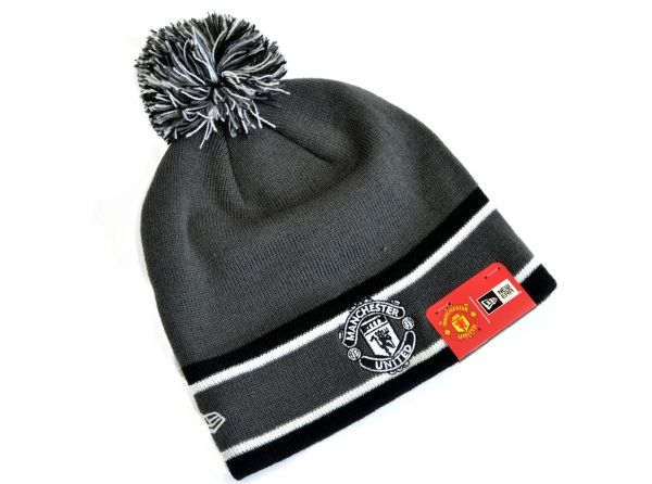 5c5bd423312 Manchester United Football Club Official New Era Grey And Black Bobble Hat  Beanie