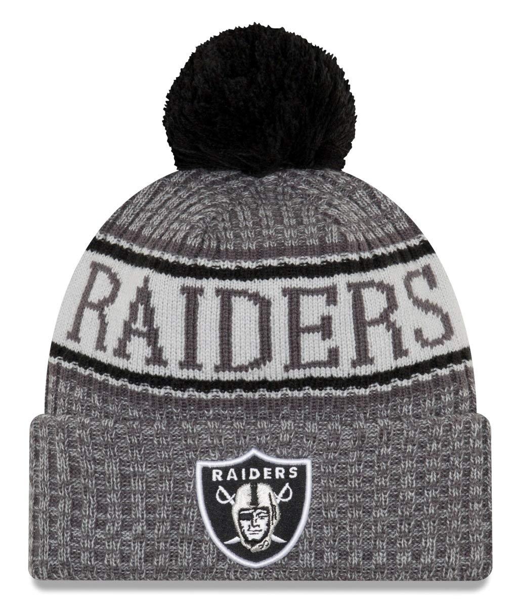 5a05da730b5 New Era Official Oakland Raiders Grey Bobble Hat Beanie With Pom NFL Badge  Crest