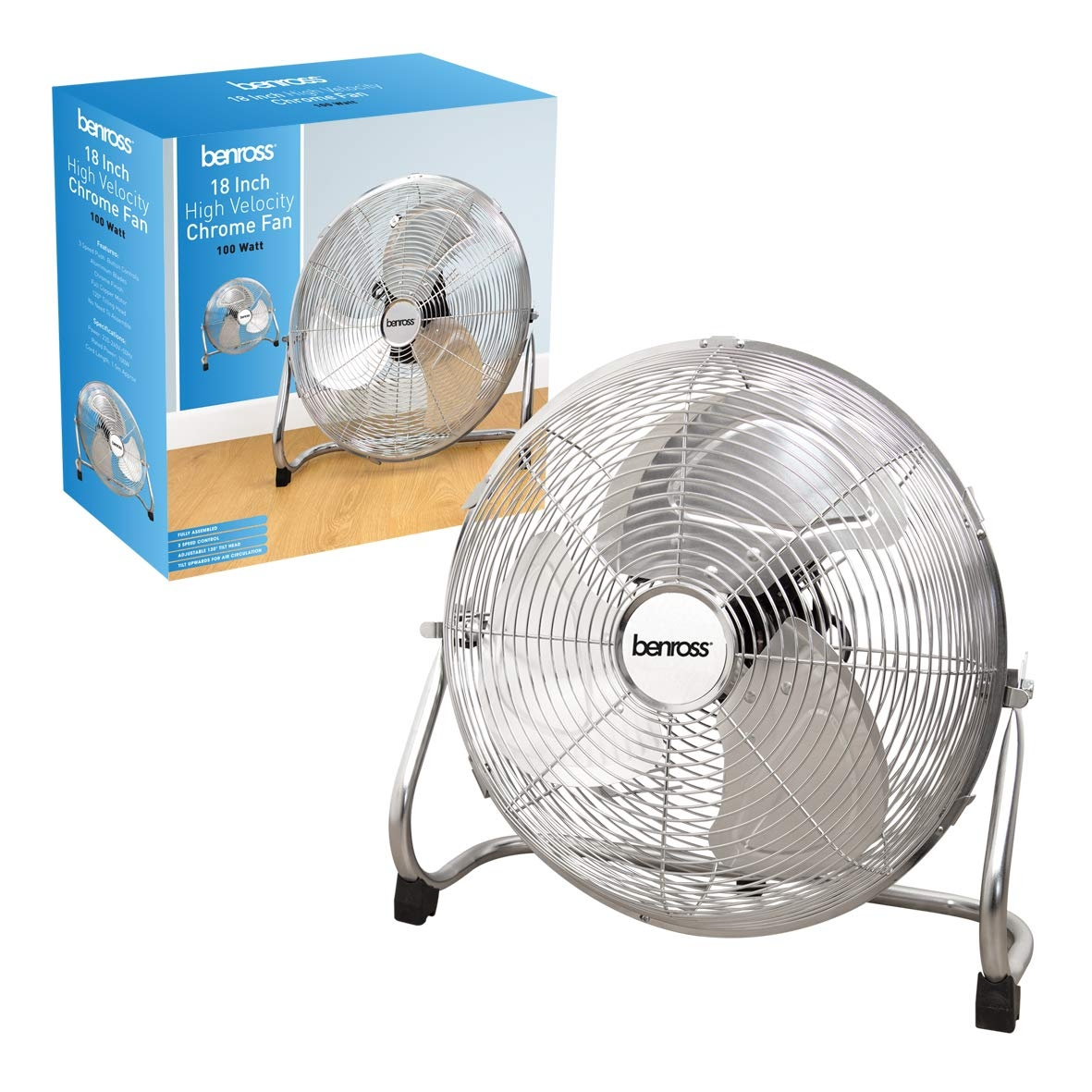 High Velocity Fan Chrome Silver 18 Inch 3 Speeds Floor Table