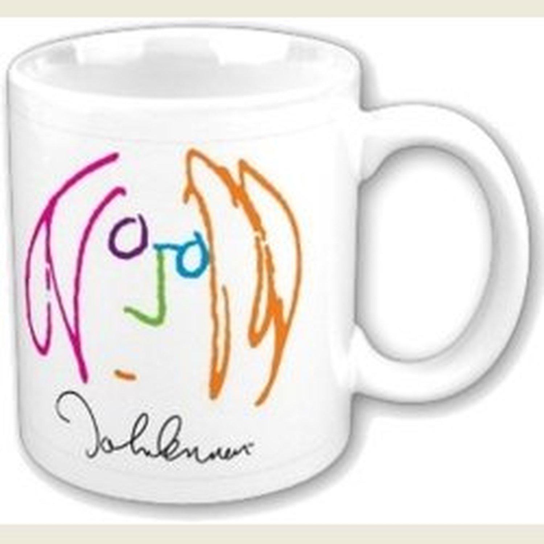 John Lennon Imagine Drawing Self Portrait White Coffee Mug Boxed Official Gift
