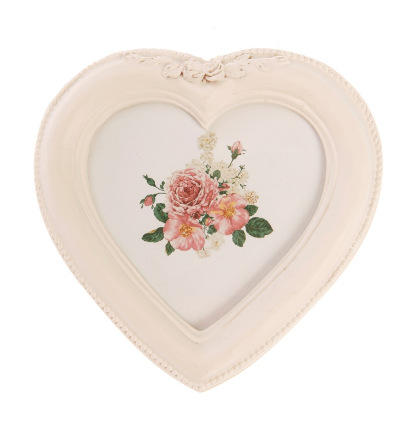 Antique Ornate Heart White Picture Frame Distressed Vintage Wedding