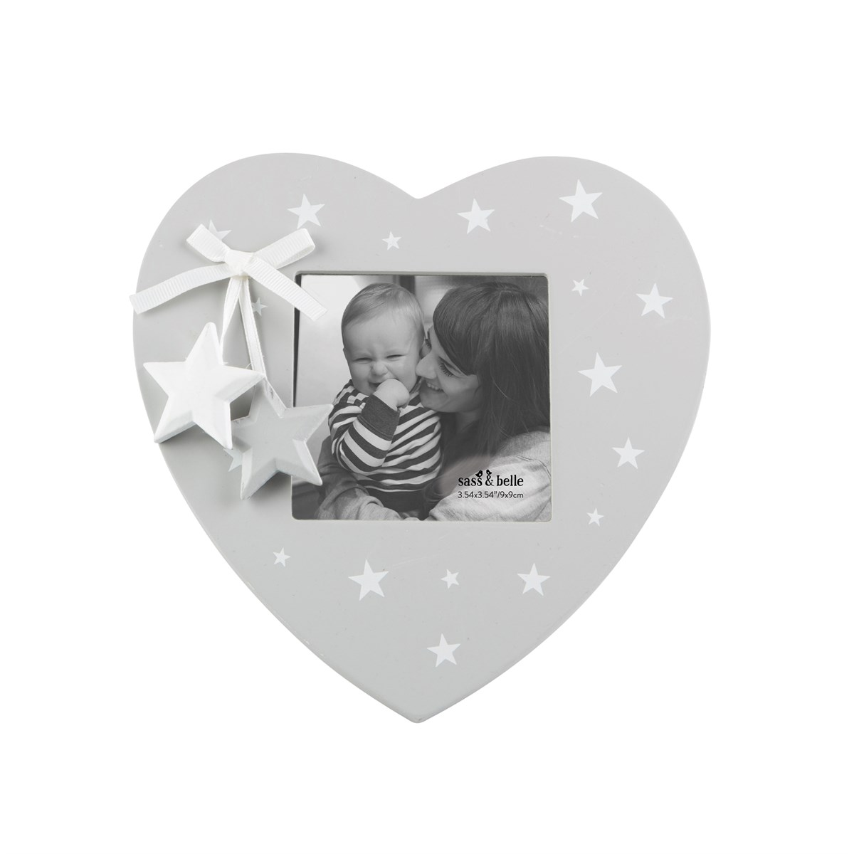 Grey And White Star Heart Photo Frame Wooden Cute Gift Family Child ...
