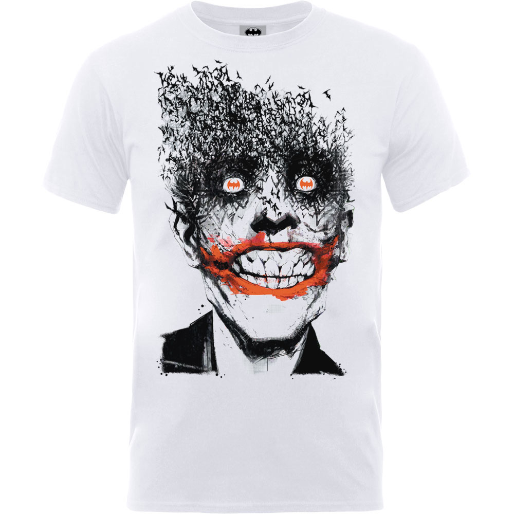 Batman Joker Face Of Bats Mens White TS