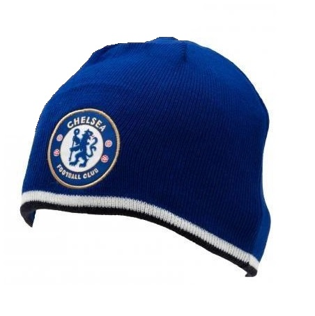 Chelsea FC Royal Blue Knitted Beanie Winter Hat Football Club Badge Official