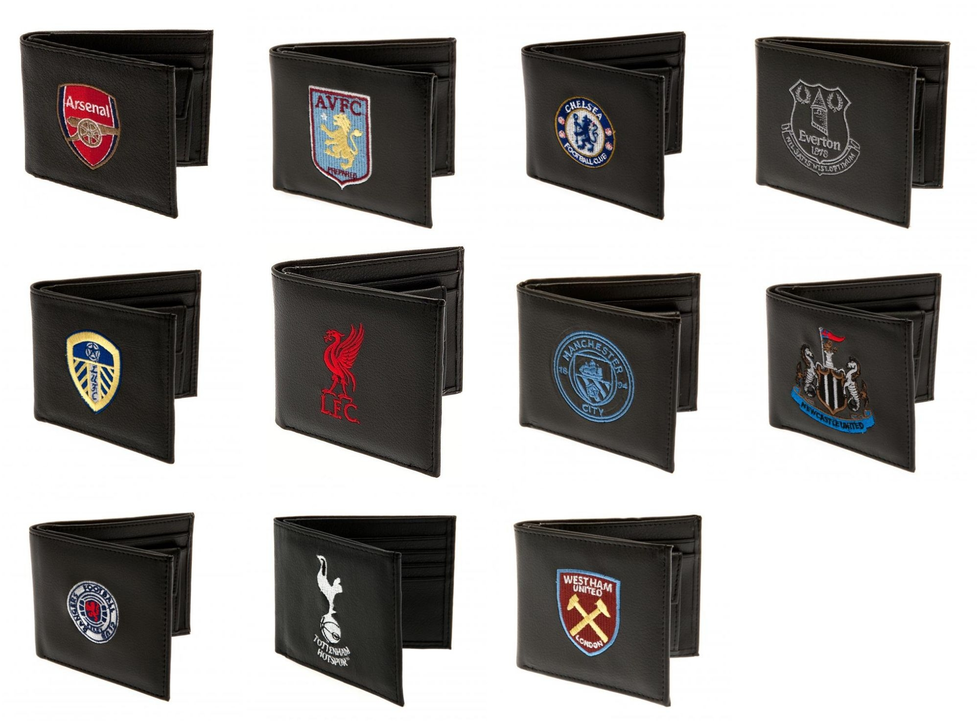 802f224d67e Football Club Official PU Black Embroidered Wallet Crest Badge Team Money