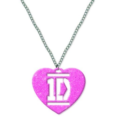 1D One Direction Pink Heart Band Logo Necklace Chain Pendant Official Gift Idea