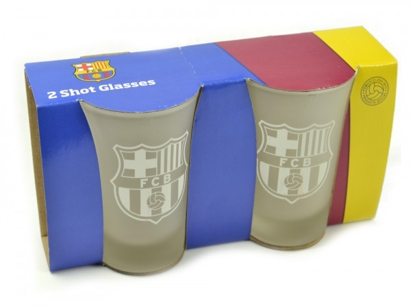 FC Barcelona Frosted Shot Glasses 2 pack Official Football Merchandise