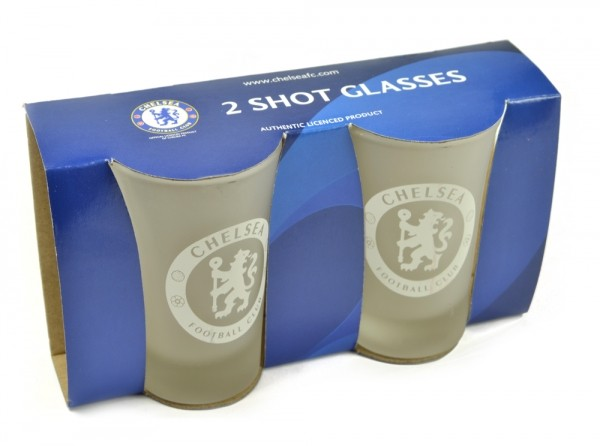 Chelsea Frosted Shot Glasses 2 Pack Official Football Merchandise