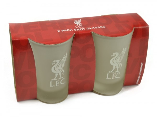 Liverpool Frosted Shot Glasses 2 pack Official Football Merchandise