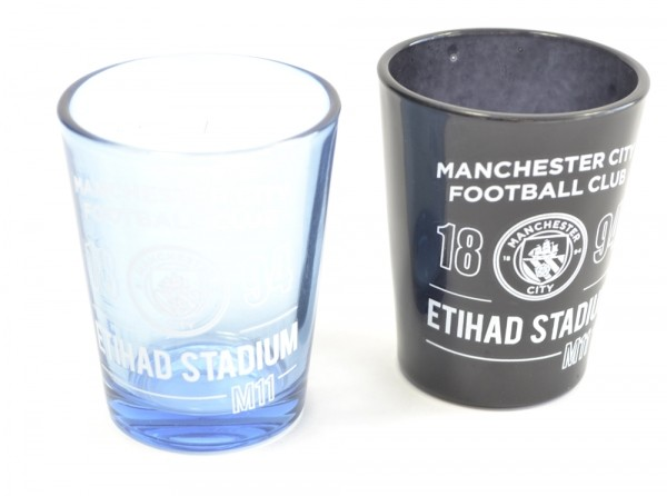 Manchester City Football Club Two Pack Home Team Shot Glasses 40ml Official