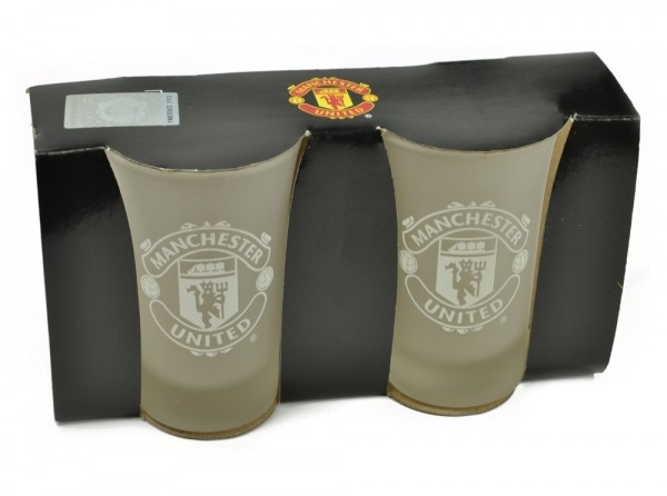 Manchester United Frosted Shot Glasses 2 Pack Official Football Merchandise