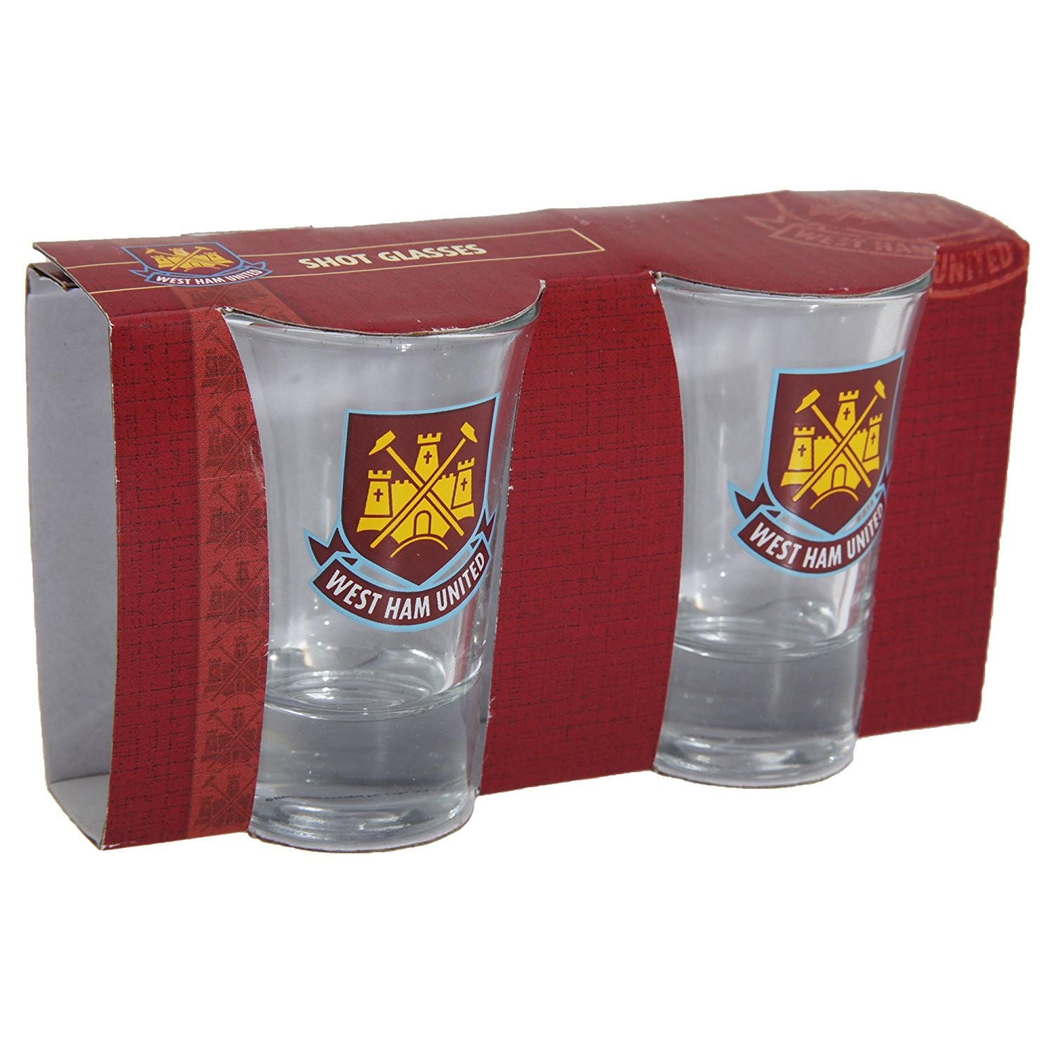 West Ham United FC Shot Glasses 2 Pack Official Football Merchandise