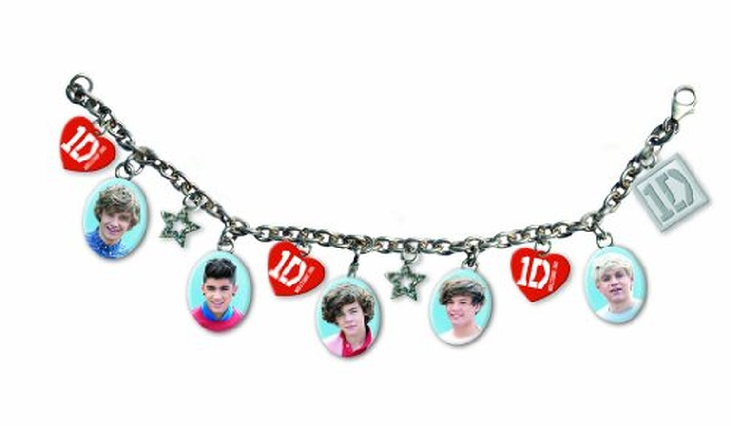 1D One Direction Silver Stars Charm Bracelet Red Hearts Band Photos Official