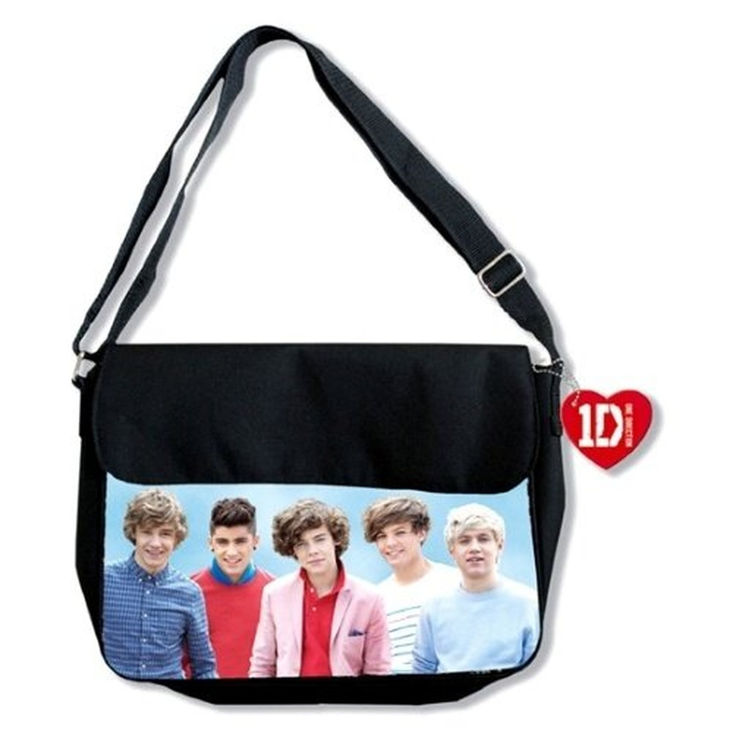 1D One Direction Early Days Messenger Black Bag Red Heart Tag Satchel Official