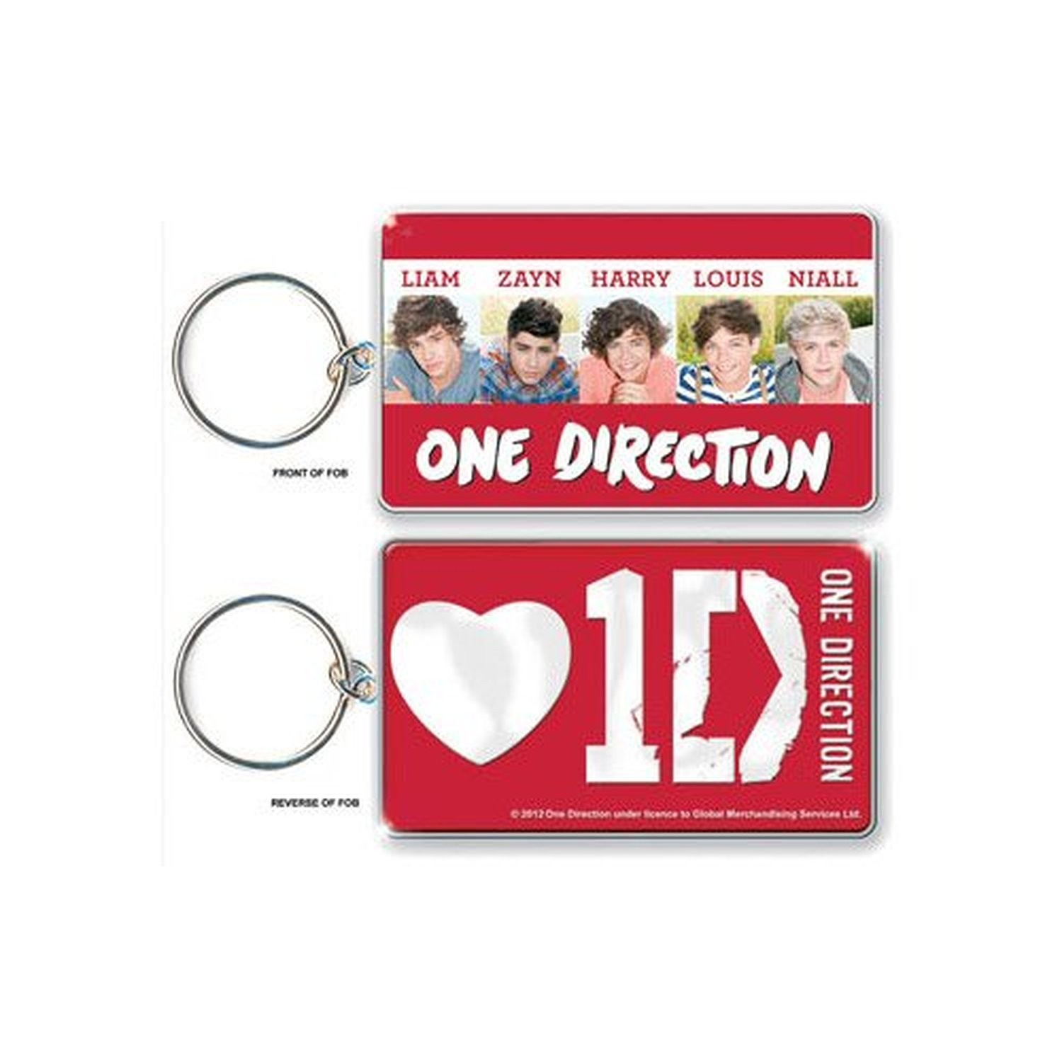 1D One Direction Early Days Red White Keyring Keychain Retro Official Fan Gift
