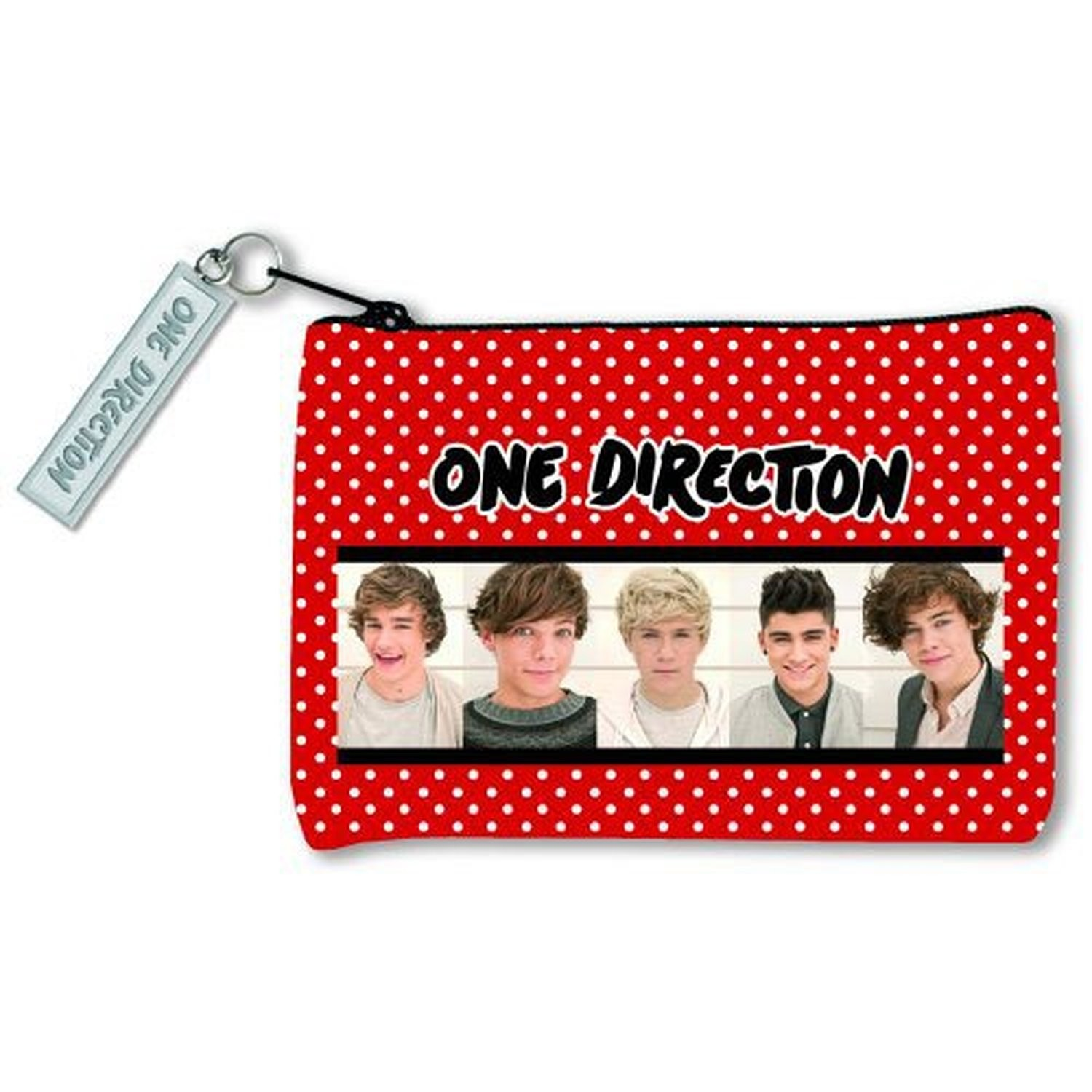 1D One Direction Zip Top Red Spotty Money Purse Band Photo 100% Official Gift