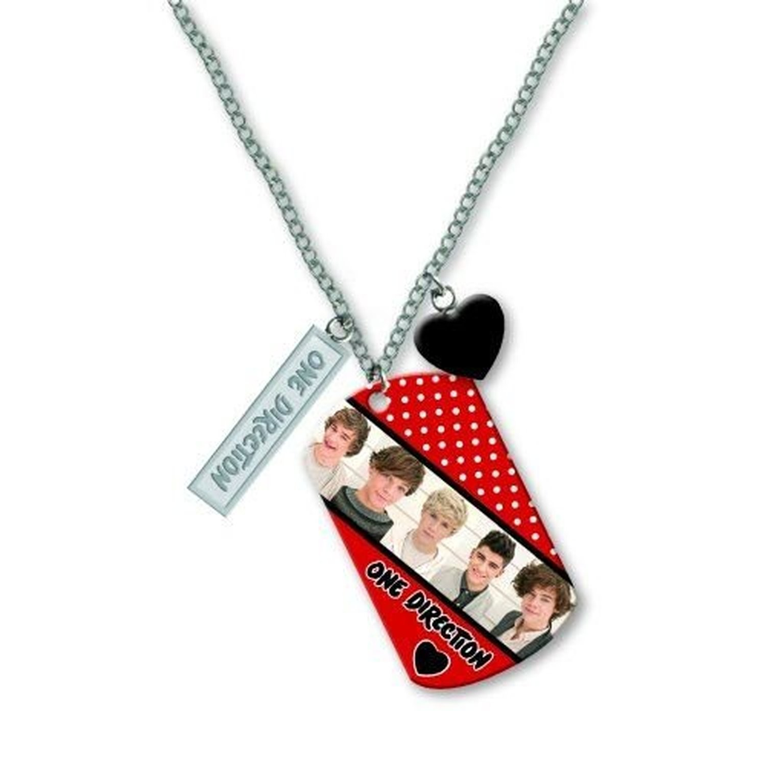 1D One Direction Dog Tags Necklace Chain Band Early Photo Heart Spotty Official