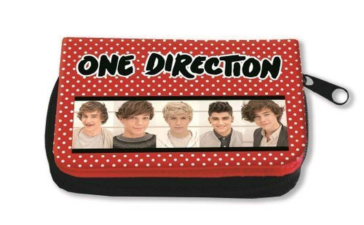 Deluxe Plush 1D One Direction Zip Top Red Spotty Money Purse Band Photo Official