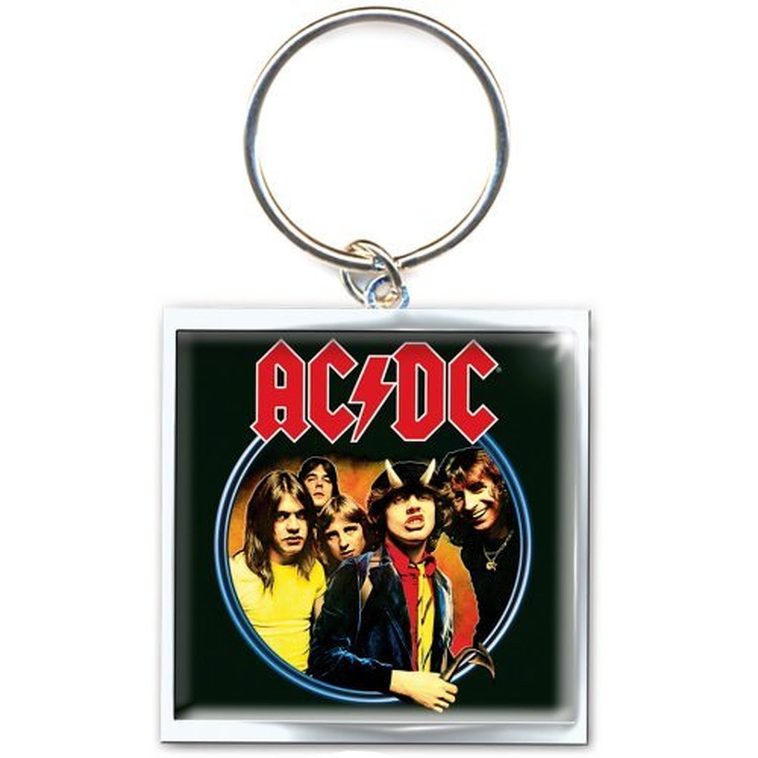 AC/DC Highway To Hell Band Picture Square Metal Keychain Keyring Gift Official