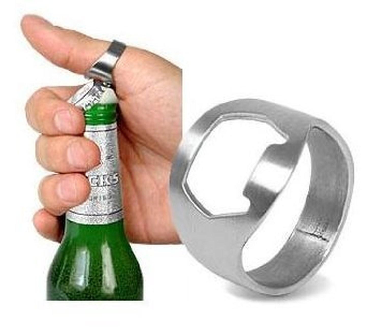 10x Handy Silver Chrome Stainless Steel Metal Bar Finger Bottle Cap Top Opener Keyring + Free Removable White Lock Suction Hooks