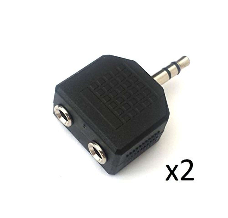 2 x Headphone Earphone 3.5mm Jack Splitter Y Adapter 1 Male 2 Female Socket By AoE Performance