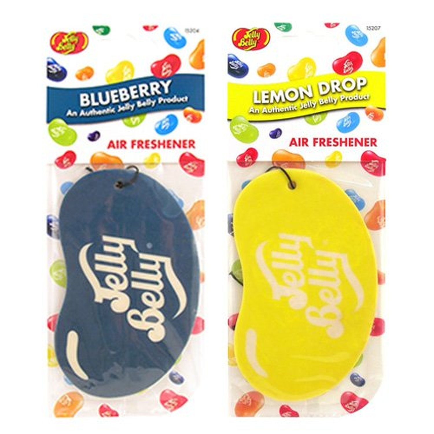 Jelly Belly Duo Pack 2D Bean Sweets Car Air Freshener Blueberry And Lemon Drop