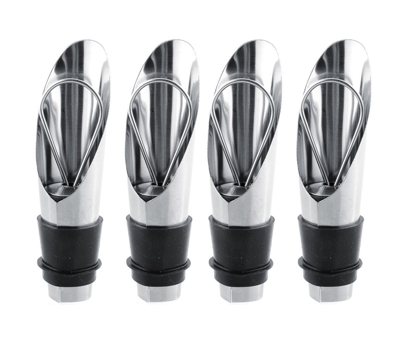 4 x Resealable Stainless Steel Wine Pourers Bottle Stoppers Spouts Bar Oil Flow