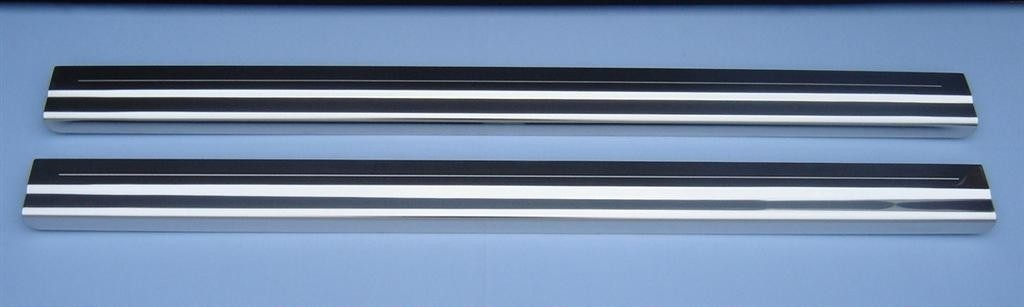 Ford Fiesta Mk6 3 Door Hatch (2002 Onwards Model) 2x Tailored Chrome Door Sill Protectors With Single Stripe Engraved