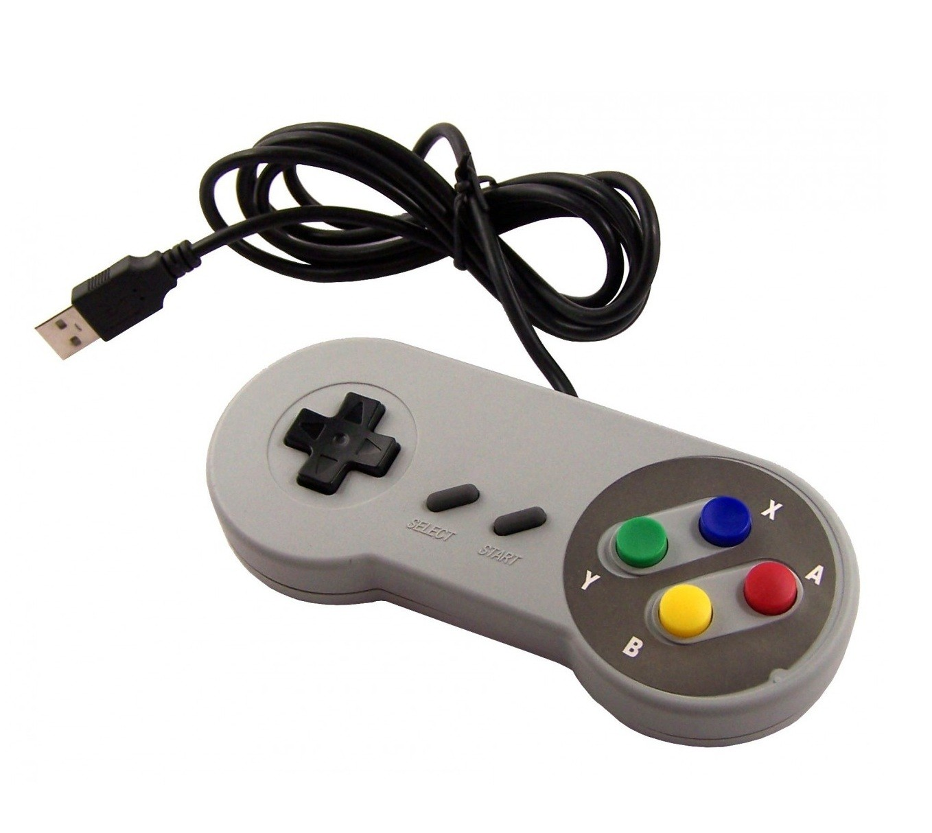 Snes Super Nintendo USB Controller Classic Style Grey Gamepad Joystick For PC / MAC / Laptop / Tablet / Raspberry Pi