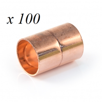 100 x Copper End Feed Straight Coupling 15mm F x F Fitting Plumbing Joining Pipe