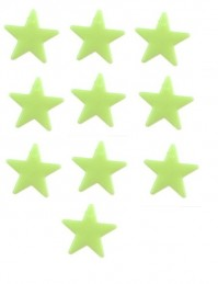 10 x Glow In The Dark Stars Kids Room Toy Stick On Ceiling Gift 2.5cm Green