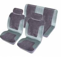 Universal Heritage Grey Soft Velour Full Set Of Car Seat Covers Interior