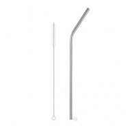 Reusable Metal Stainless Steel Straw And Wire Cleaning Brush Eco Friendly Party Drinks Bar Slim Bent Tableware Home