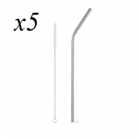 5 x Reusable Metal Stainless Steel Straw And Wire Cleaning Brush Eco Friendly Party Drinks