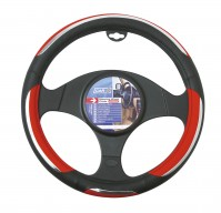 Car Steering Wheel Cover Glove Snake Red Black Chrome PVC 37-39cm Universal Fit